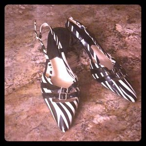 Michael Kors Shoes - Michael Kors Zebra Slingback Kitten Heels 8